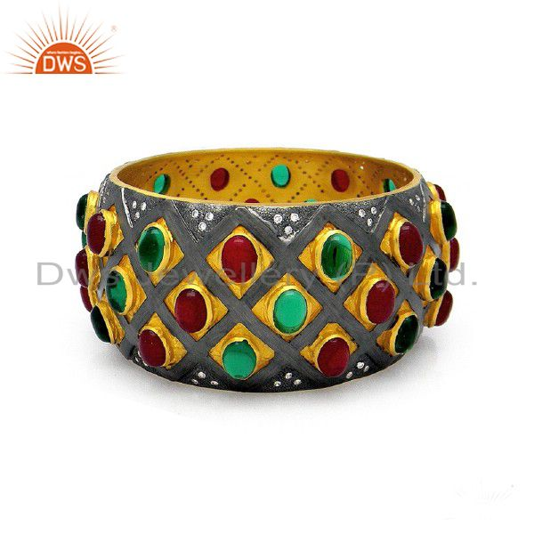 22K Yellow Gold Plated Sterling Silver Red And Green Glass Wide Bangle Bracelet