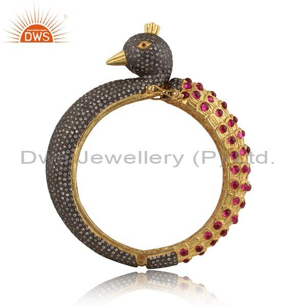 Imitation Red Stone, Zircon Red, Cubic Zirconia Gold Bangle
