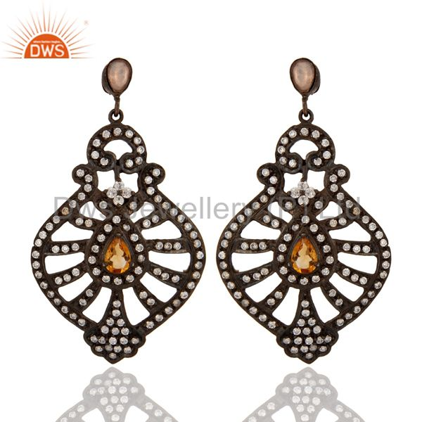 Rhodium Plated Sterling Silver Cubic Zirconia & Citrine Bridal Fashion Earring
