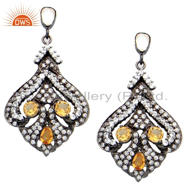 Oxidized Sterling Silver Citrine And CZ Polki Vintage Style Dangle Earrings