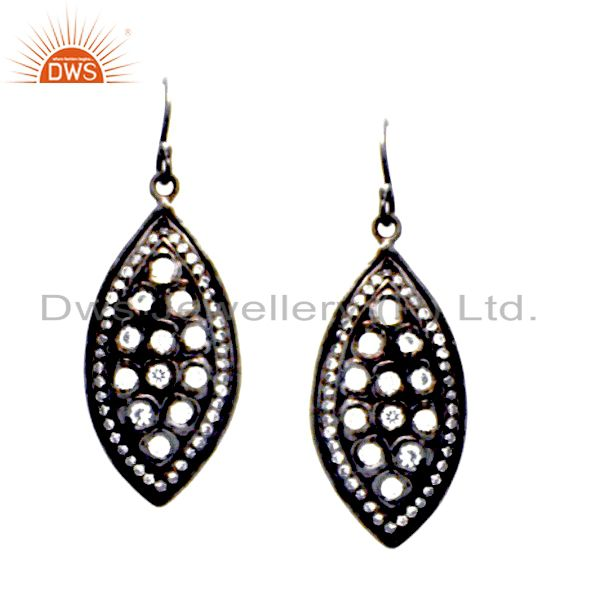 Oxidized Sterling Silver Cubic Zirconia Vintage Fashion Dangle Earrings