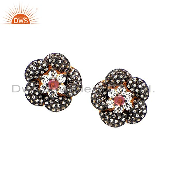 18K Gold Over Sterling Silver Pink Tourmaline And CZ Designer Stud Earrings