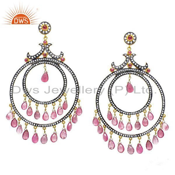 Pink Tourmaline And CZ Victorian Style Earrings Made In 18K Gold Over Silver