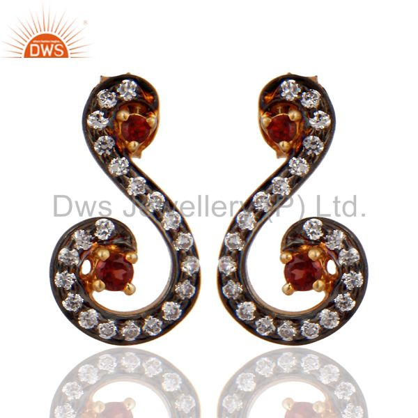 925 Sterling SIlver Gold Plated Garnet & CZ Designer Womens Stud Earrings