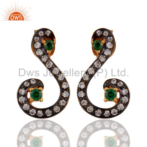 Green & White Cubic Zirconia Designer Sterling Silver Gold Plated Stud Earrings