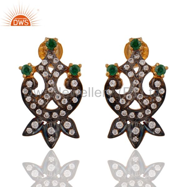 Designer Cubic Zirconia Handmade Gold Plated Sterling Silver Earrings Jewelry