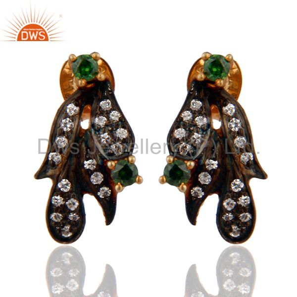 Handmade 925 Sterling Silver Cubic Zirconia CZ Earrings With 24k Gold Plated