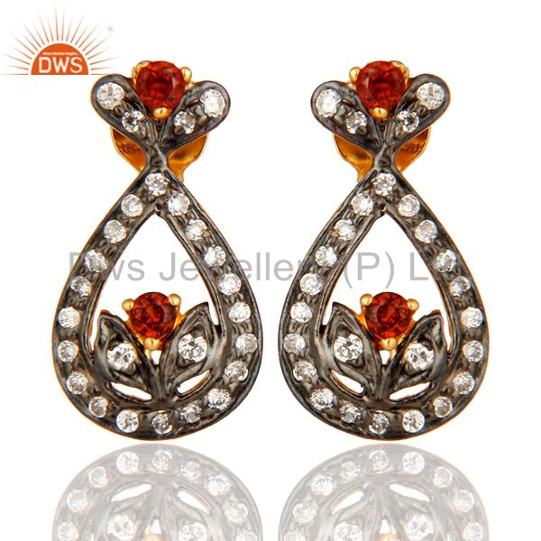 925 Sterling Silver Garnet And White Zircon Stud Earrings With Gold Plated