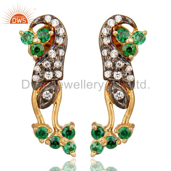 Handmade Green Cubic Zirconia 925 Sterling Silver Stud Earrings With Gold Plated