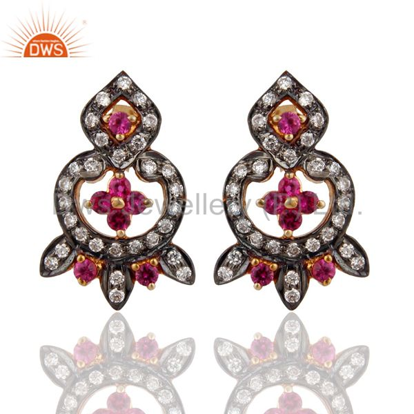 Gold Plated Sterling Silver 925 Red Cubic Zirconia CZ Designer Stud Post Earring