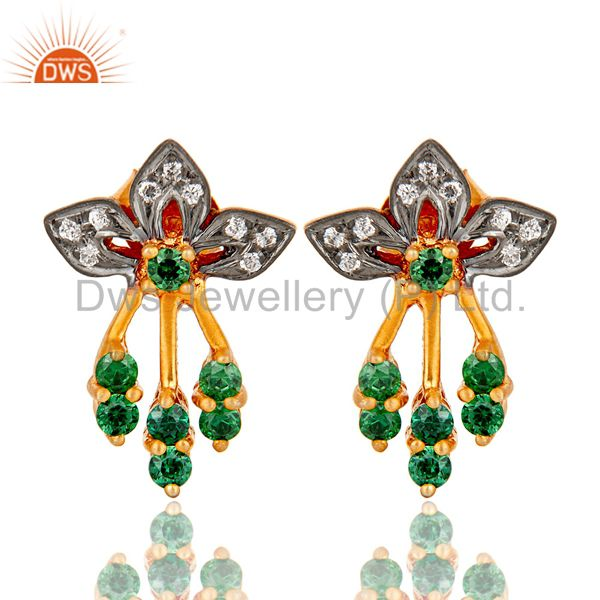 Handmade 925 Sterling Silver Gold Plated Green & White Zircon Women Stud Earring