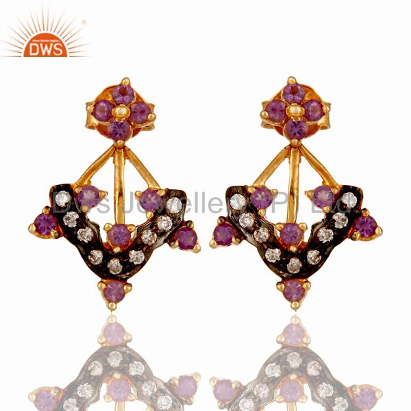 Gold Plated Sterling Silver Citrine Amethyst Garnet Gemstone Earring With Zircon