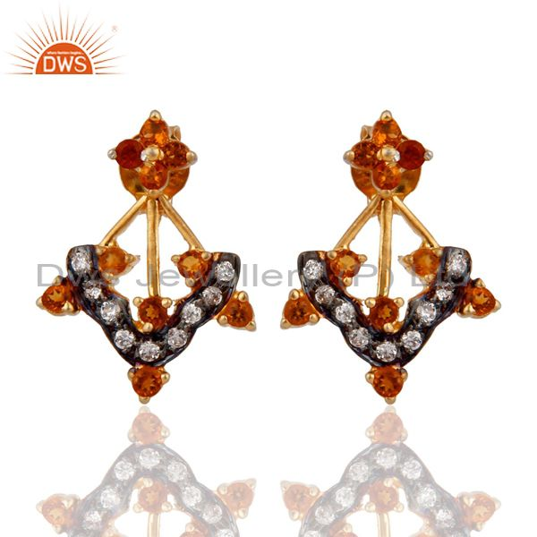 Gold Plated Sterling Silver Citrine Semi Precious Gemstone Earrings With Zircon