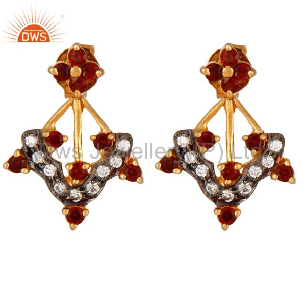 18K Gold Plated 925 Sterling Silver Garnet Gemstone & White Zircon Stud Earring