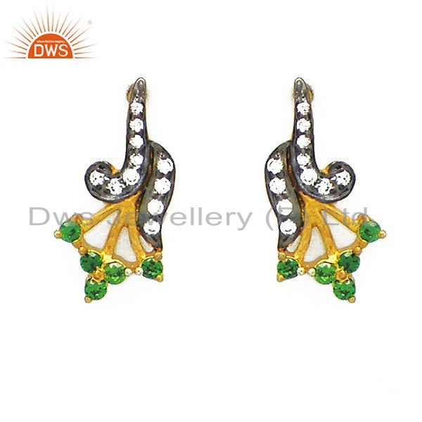 18K Yellow Gold Plated Sterling Silver Round Green Cubic Zirconia Stud Earring