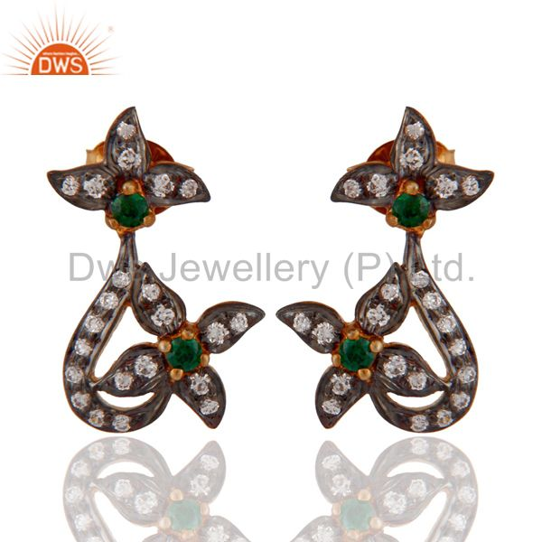 .925 Sterling Silver Gold Plated Cubic Zirconia Flower Design Post Stud Earrings