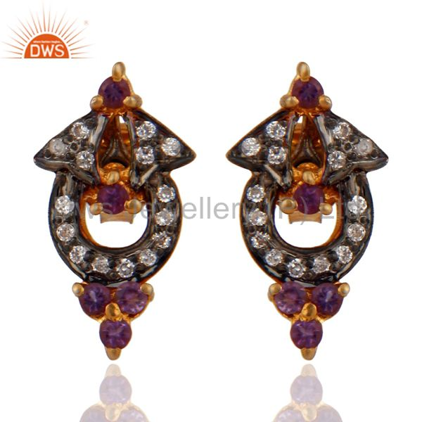 Solid 925 Sterling Silver Amethyst Handmade Designer Gold Plated Fashion Earring