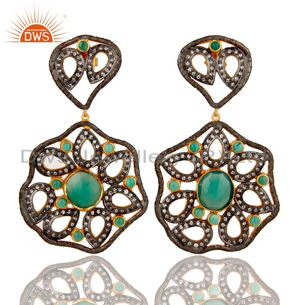 Designer 925 Sterling Silver Handmade Green Onyx Earring With Zircon