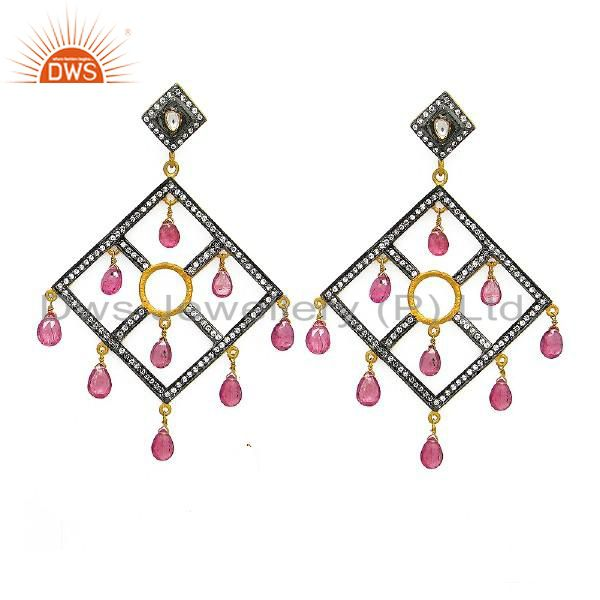 18K Gold Plated Sterling Silver CZ And Tourmaline Designer Chandelier Earrings
