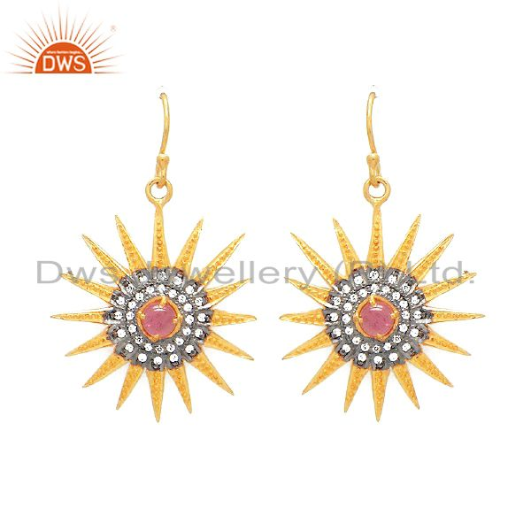 24K Gold Plated Sterling Silver Pink Tourmaline And CZ Rising Sun Design Earring