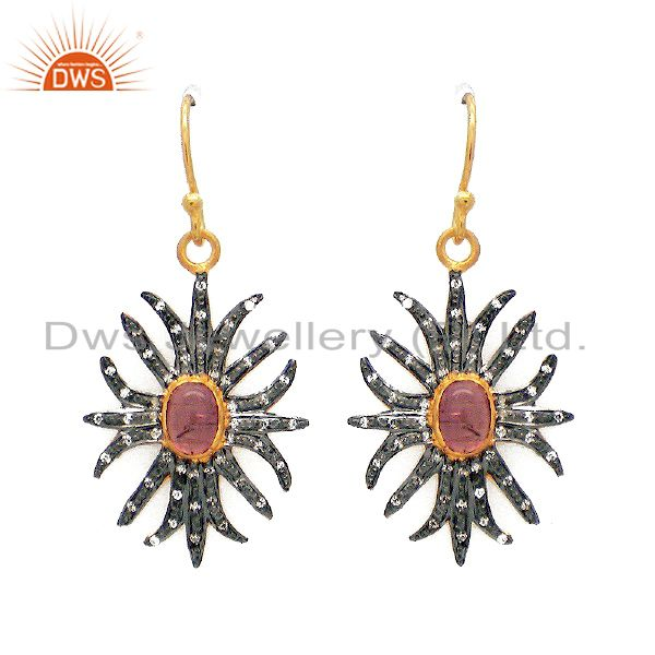 22K Gold Plated Sterling Silver CZ And Pink Tourmaline Designer Dangle Earrings