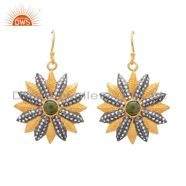 22K Yellow Gold Plated Sterling Silver CZ And Green Tourmaline Flower Earrings