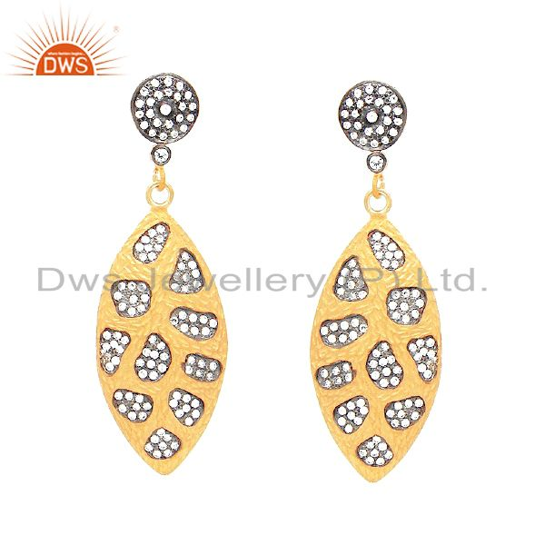 24K Yellow Gold Plated Sterling Silver Cubic Zirconia Fashion Dangle Earrings