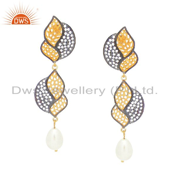 14K Yellow Gold Plated Sterling Silver Cubic Zirconia Womens Dangle Earrings