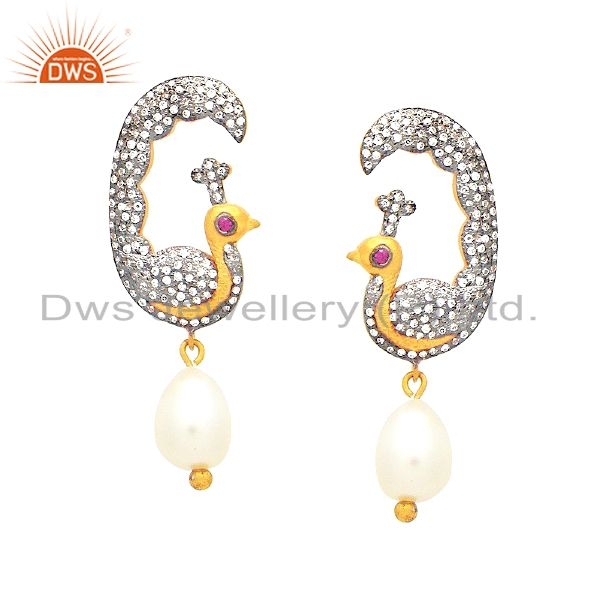 18K Yellow Gold Plated Sterling Silver Pearl And CZ Peacock Dangle Earrings