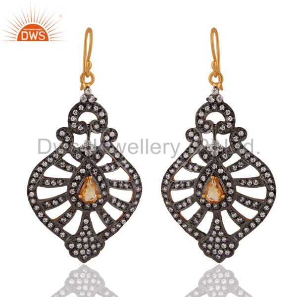 Natural Citrine & Cubic Zirconia Gold Plated 925 Silver Victorian Style Earrings