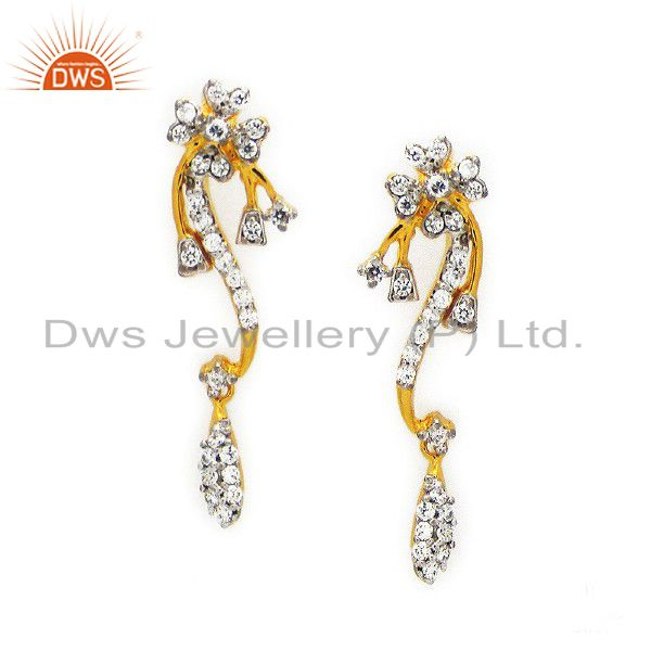 18K Yellow Gold Plated Sterling Silver White Zircon Fashion Dangle Earrings