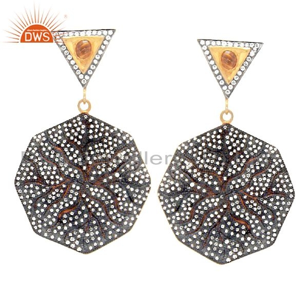 CZ Dangle Gold Plated Designer Fashion Jewelry Earring