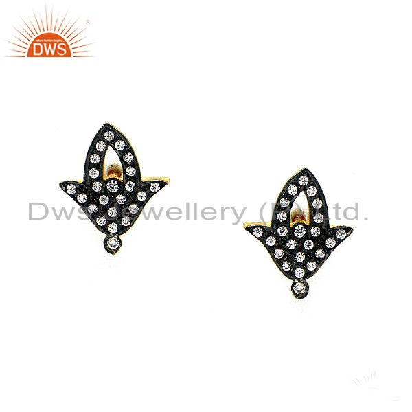 14K Yellow Gold Plated Sterling Silver Cubic Zirconia Designer Stud Earrings