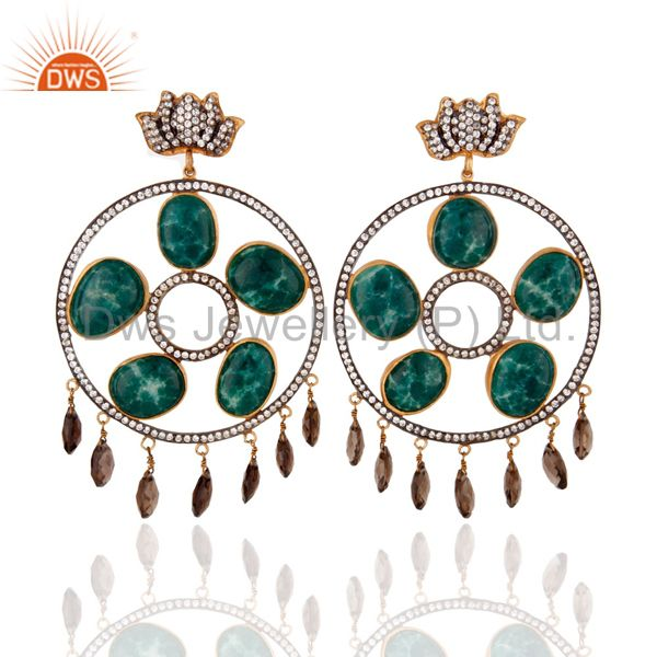 Dyed Emerald 18K Gold on Silver Smoky Quartz Bridal Wedding Chandelier Earrings