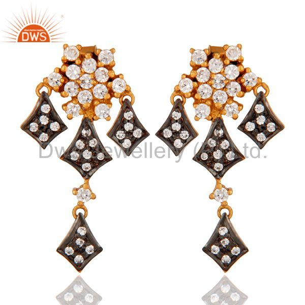 Stunning White Color Cubic Zirconia CZ 925 Sterling Silver Chandelier Earrings