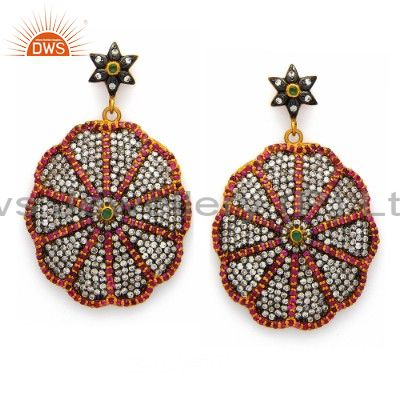 18K Gold Plated Sterling Silver CZ Fashion Dangle Earrings
