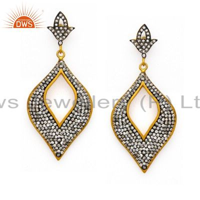 14K Yellow Gold Plated Sterling Silver CZ Designer Fashion Dangle Earrings