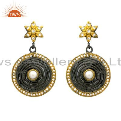 Oxidized And 14K Gold Plated Sterling Silver Pearl & CZ Fashion Dangle Earrings