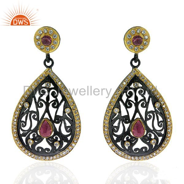 Oxidized 18K Gold Plated Sterling Silver CZ And Pink Tourmaline Dangle Earrings