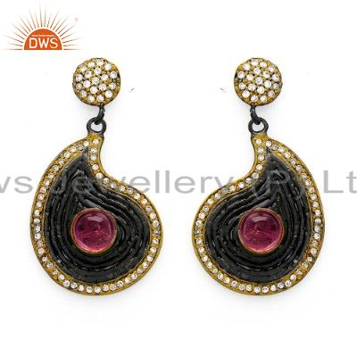 Oxidized And 14K Gold Plated Sterling Silver Pink Tourmaline & CZ Drop Earrings