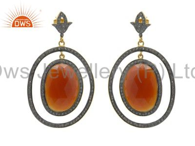 Red Onyx And Cubic Zirconia Dangle Earrings Made In 18K Gold Over Silver
