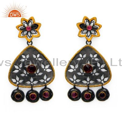 Oxidized And Gold Plated Sterling Silver Pink Tourmaline Designer Dangle Earring