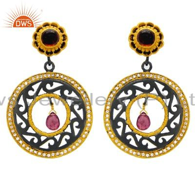 Handmade 925 Sterling Silver Gold Plated Tourmaline Gemstone Earring With CZ