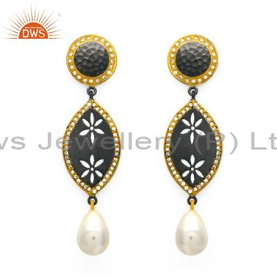 Oxidized And 18K Gold Plated Sterling Silver Pearl & CZ Fashion Dangle Earrings