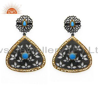 Oxidized And 14K Gold Plated Sterling Silver Turquoise and CZ Dangle Earrings