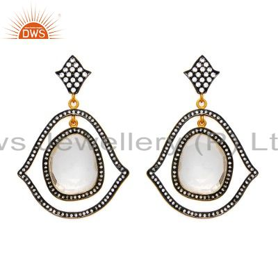 Oxidized And 14K Gold Plated Sterling Silver Crystal Quartz & CZ Dangle Earrings