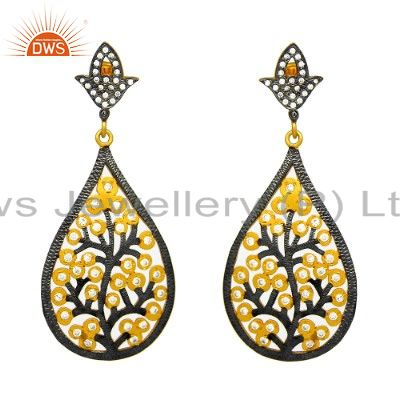Oxidized And 14K Gold Plated Sterling Silver CZ Floral Design Filigree Earrings