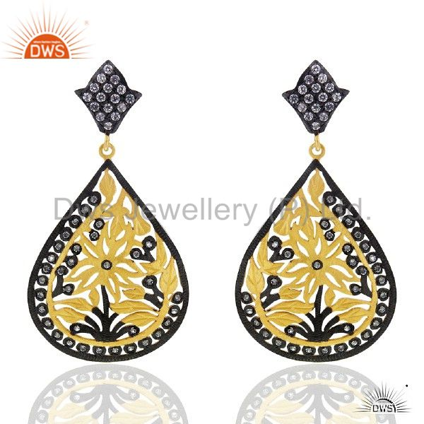 18K Yellow Gold Plated Sterling Silver Filigree Design Earrings With CZ