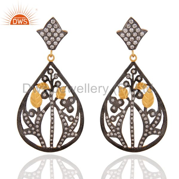 Oxidized And 22K Yellow Gold Plated Cubic Zirconia Vintage Designer Earrings