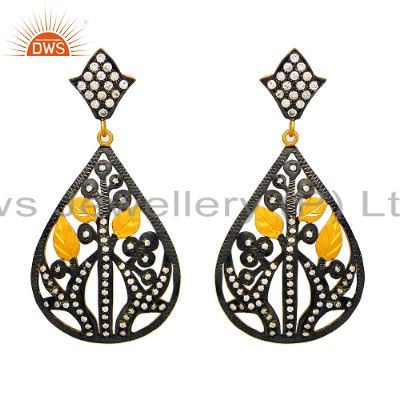 Oxidized And 18K Gold Plated Sterling Silver CZ Leaf Design Dangle Earrings